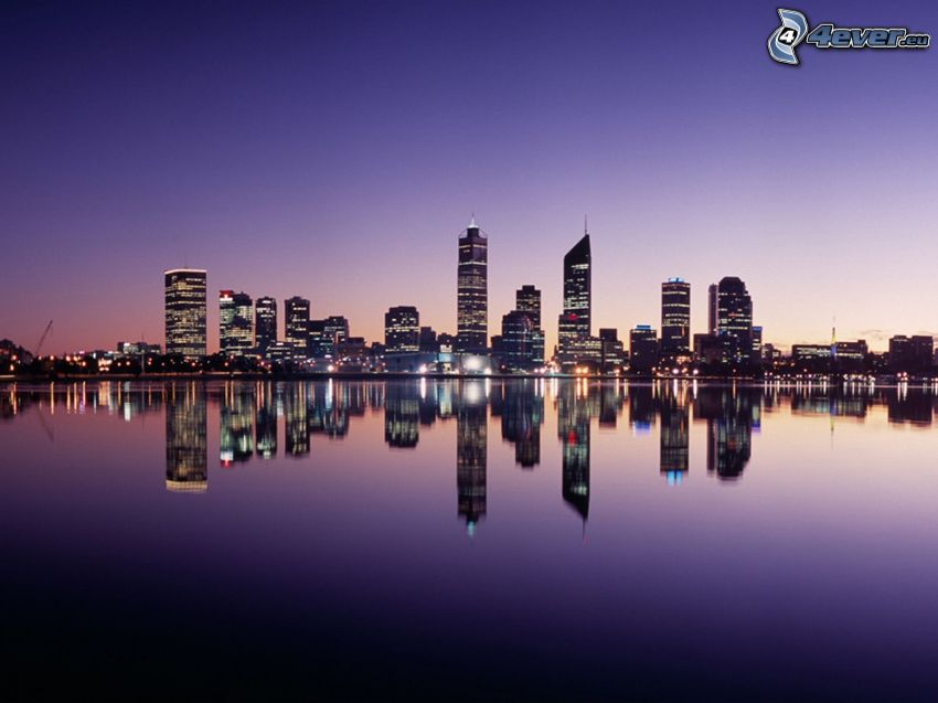 Perth, skyscrapers, night city, sea, reflection