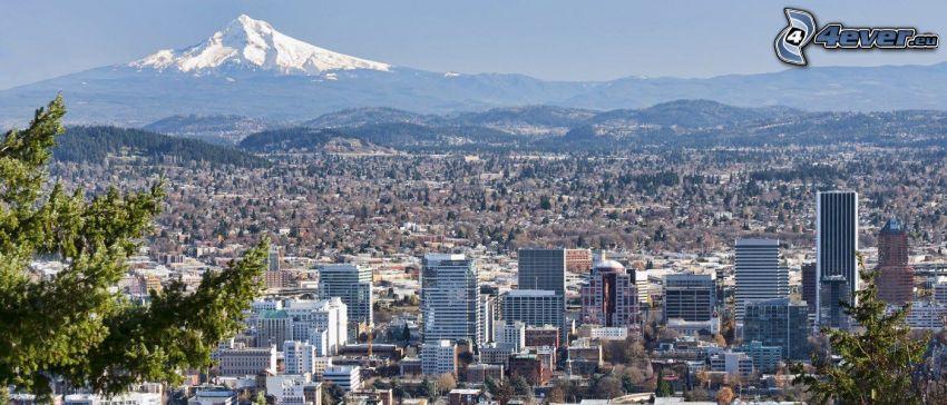 Portland, snowy hill, Mount Hood