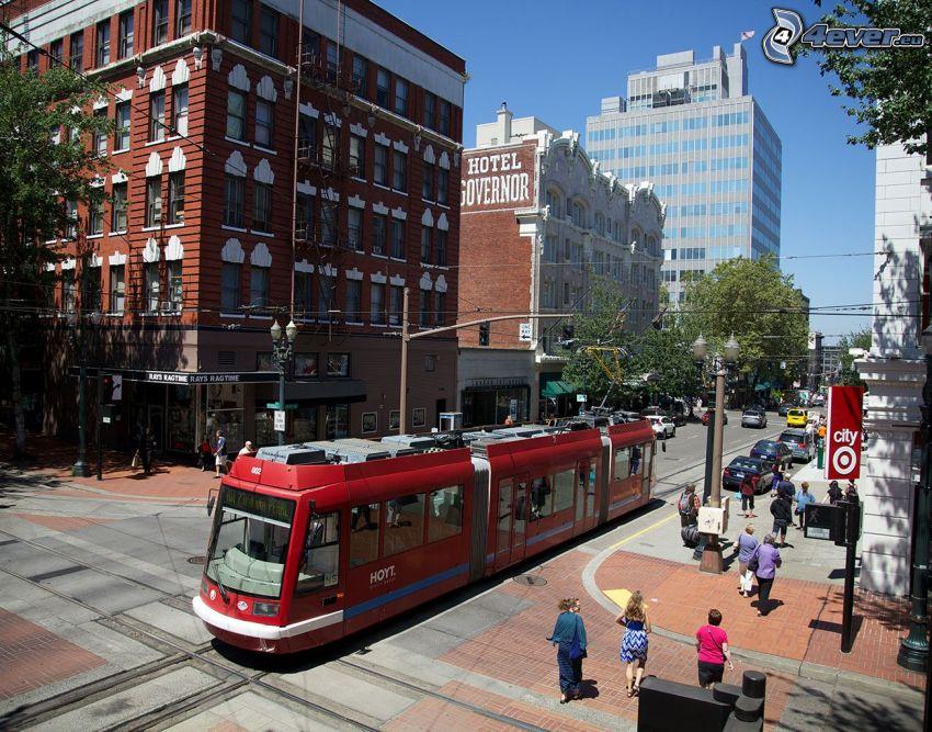 Portland, tram, street