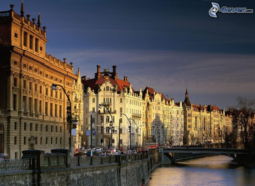 Prague, Czech, Vltava, buildings