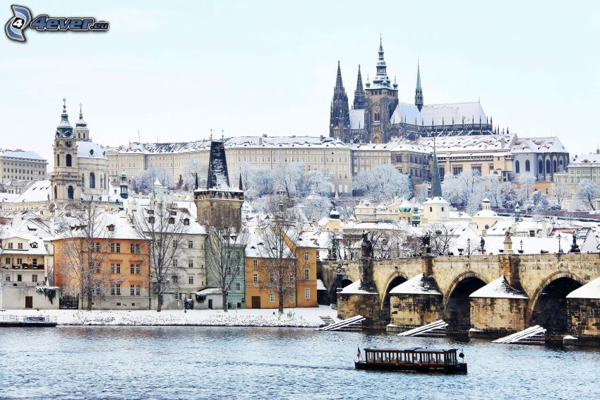 Prague, Prague Castle, Charles Bridge, Vltava, snow