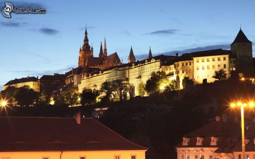Prague Castle, Prague, evening city