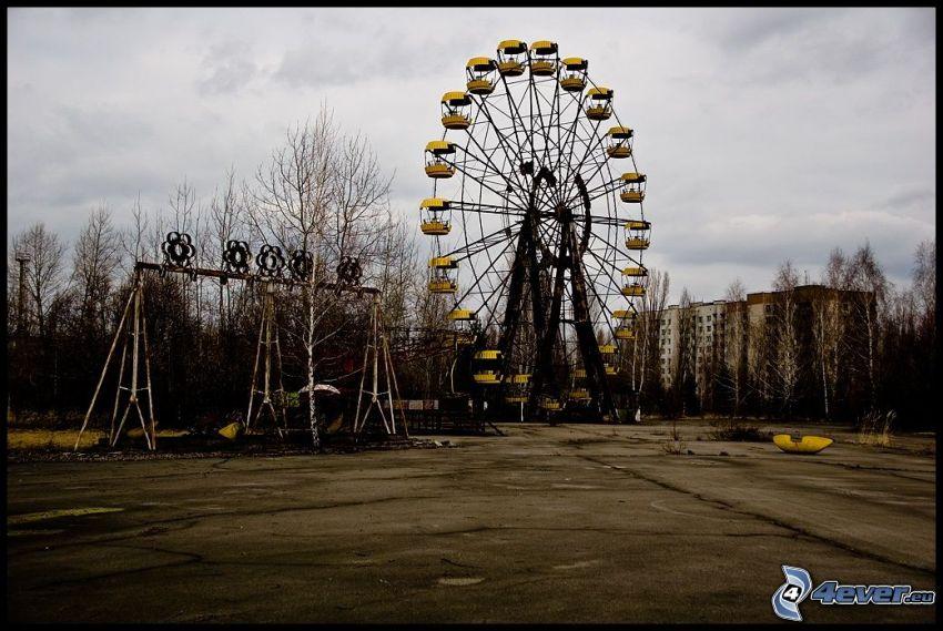 Prypiat, ferris wheel, swings, housing