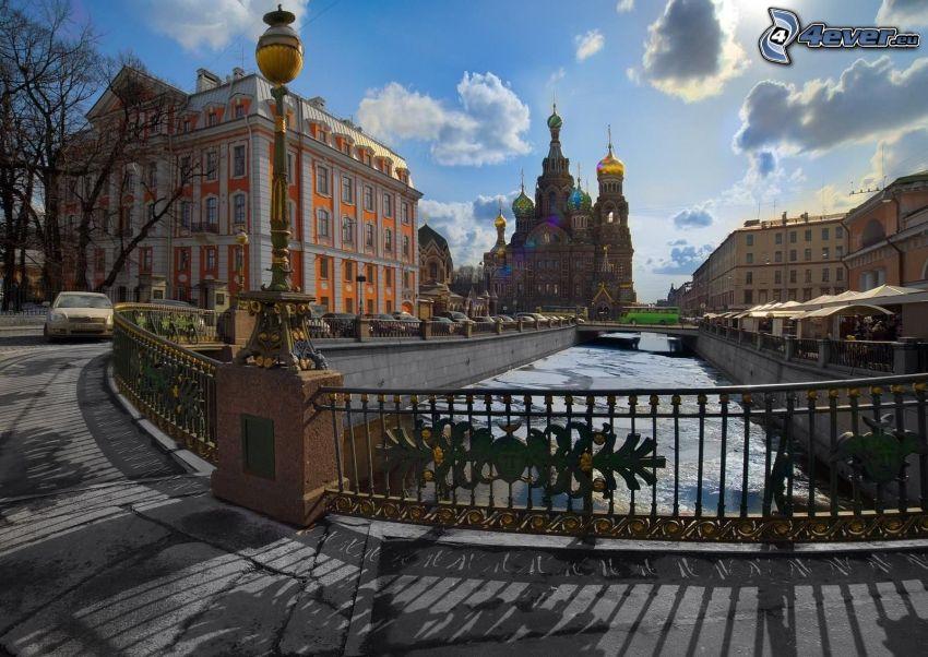Saint Petersburg, bridge, church