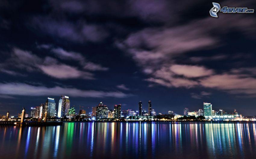 San Diego, night city, sky