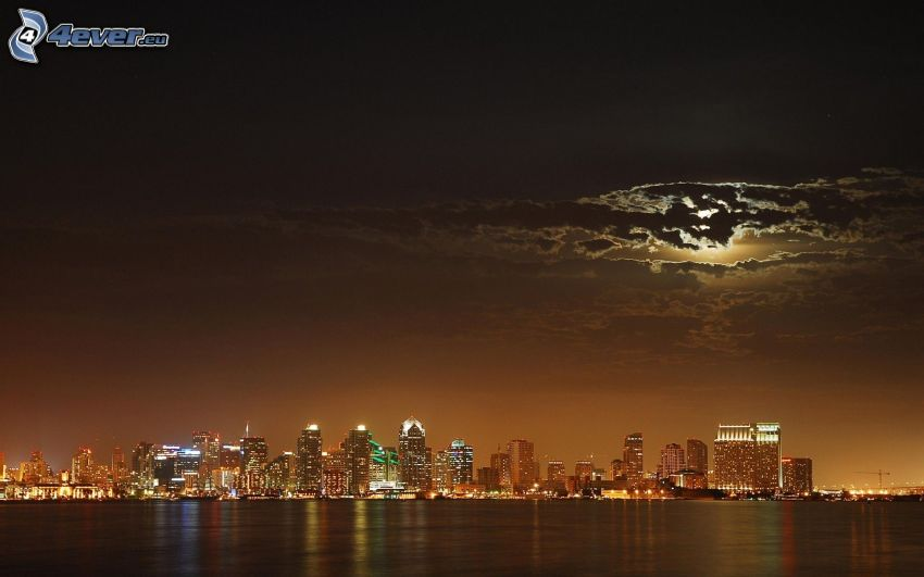 San Diego, skyscrapers, night city, moon