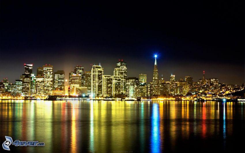 San Francisco, night city, lights, water surface