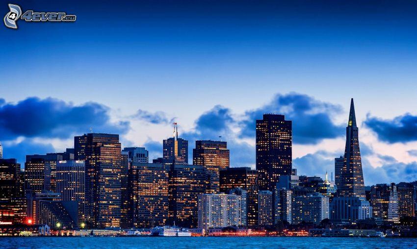 San Francisco, skyscrapers, evening city