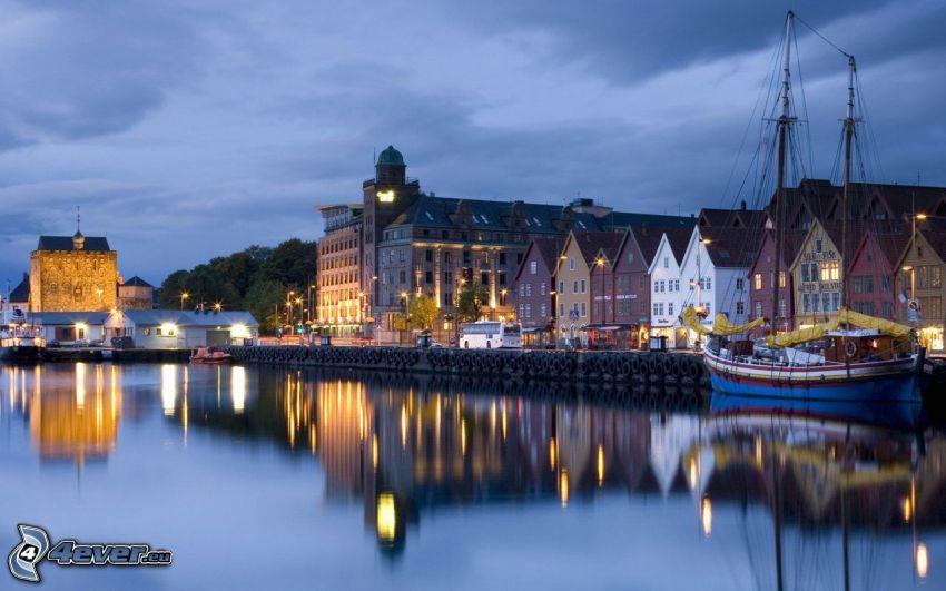 seaside town, evening