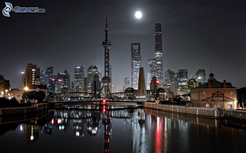 Shanghai, night city, moon