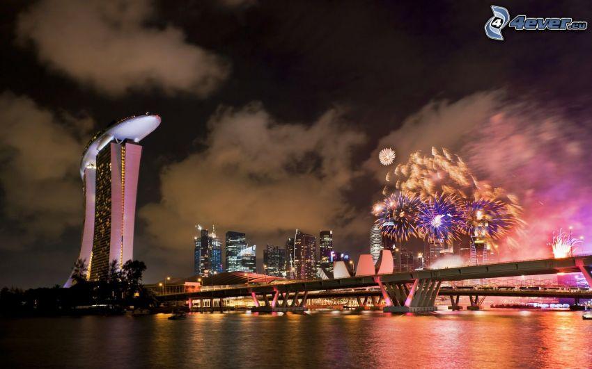 Singapore, fireworks, Marina Bay Sands