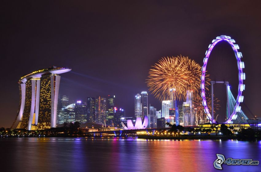 Singapore, night city, Marina Bay Sands, ferris wheel