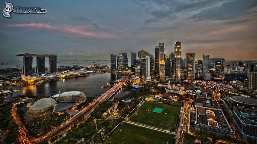 Singapore, skyscrapers, Marina Bay Sands, HDR