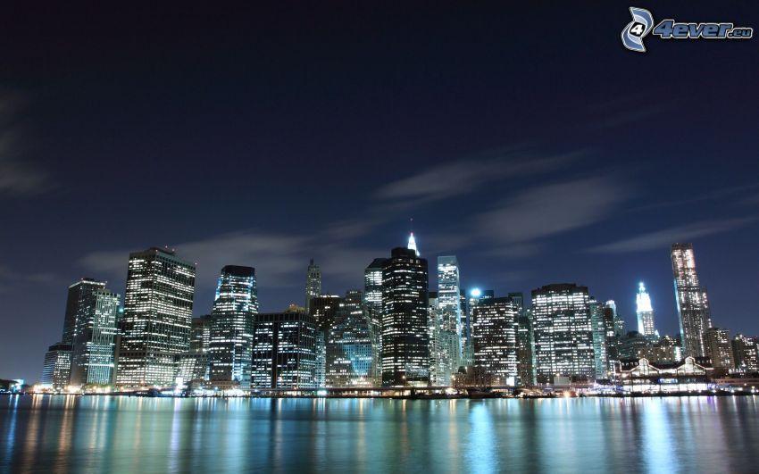 Singapore, skyscrapers, night city