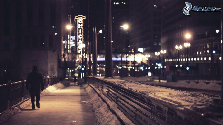 snowy street, night city