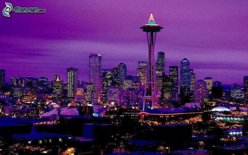 Space Needle, Seattle, night city