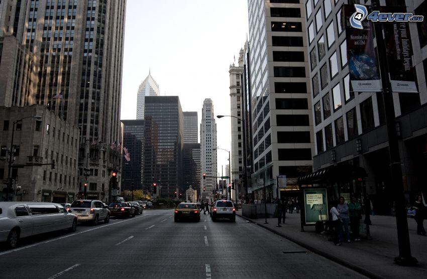 street, skyscrapers, cars