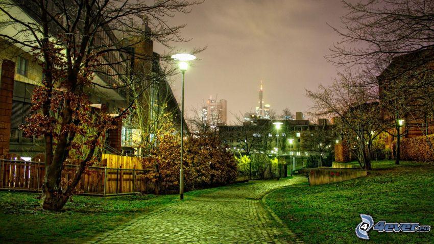 street, street lights, HDR