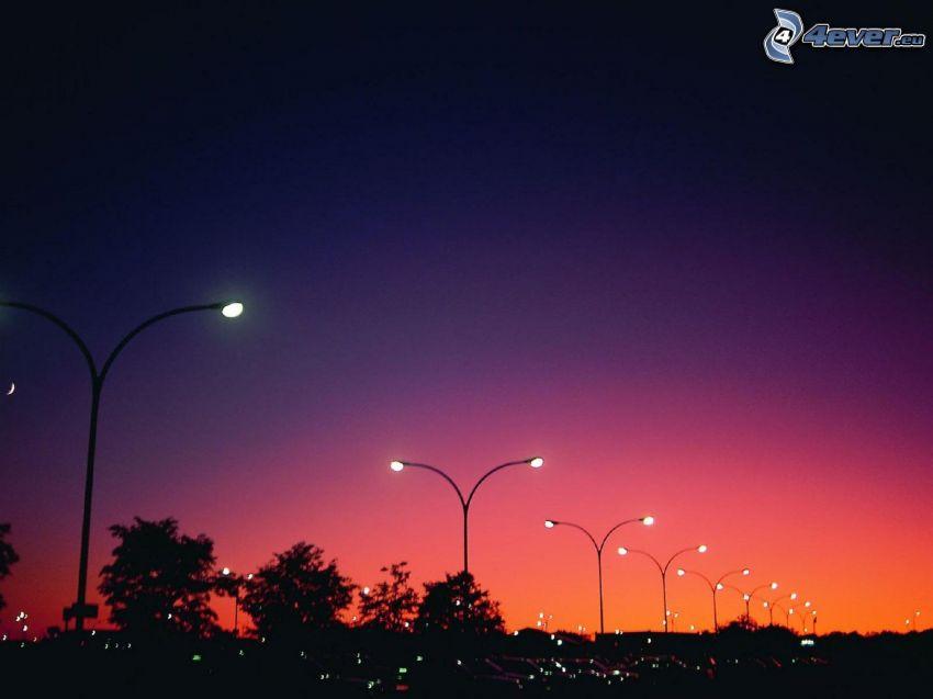 street lights, lamps, evening sky