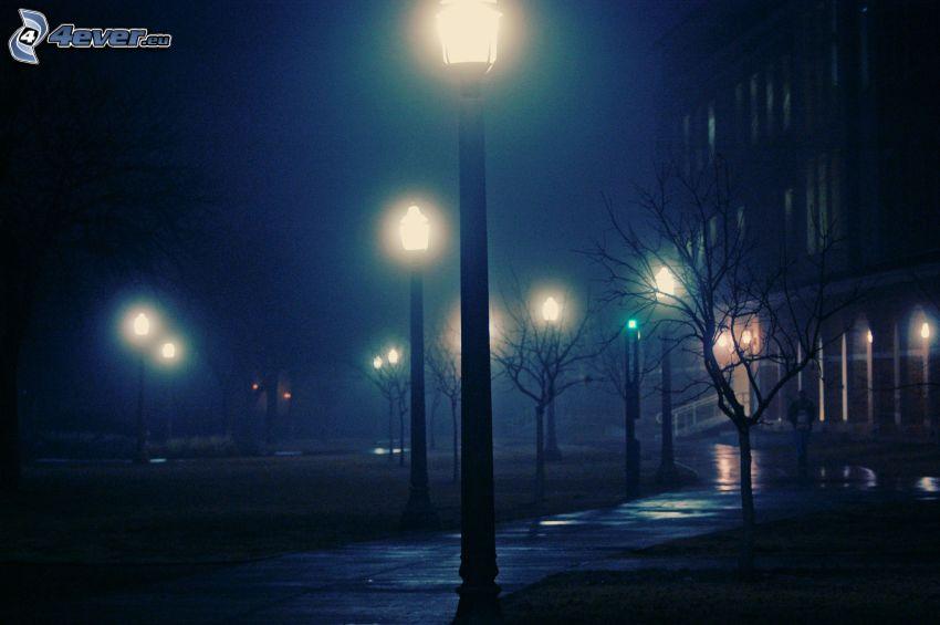 street lights, night, sidewalk