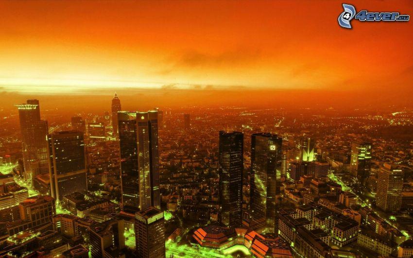 sunset over a city, California, orange sky