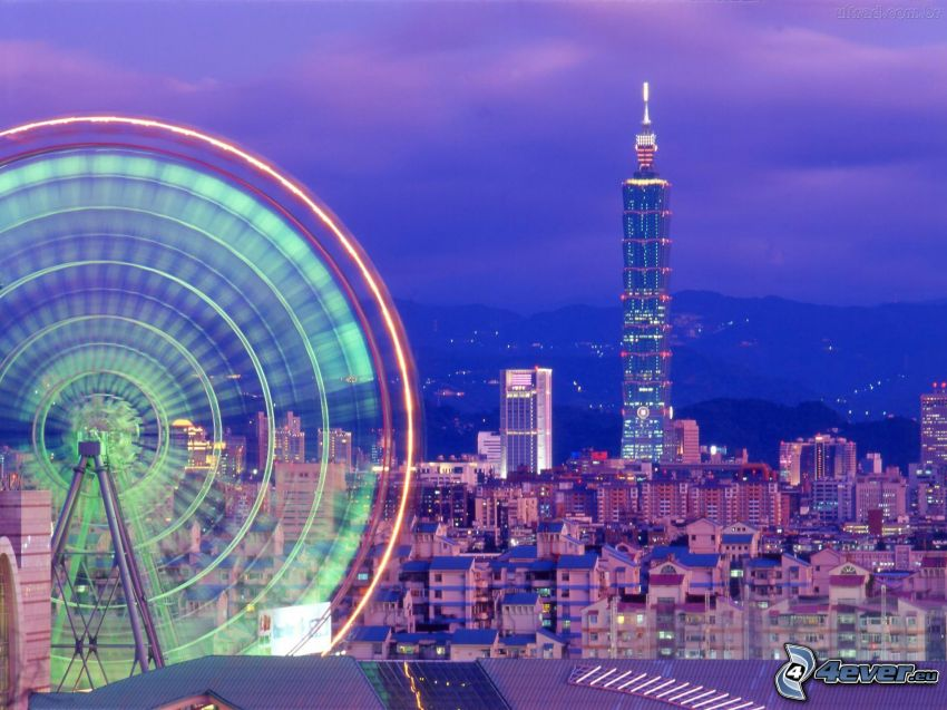 Taipei, night city, Taipei 101