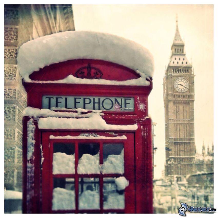 telephone booth, Big Ben, snow