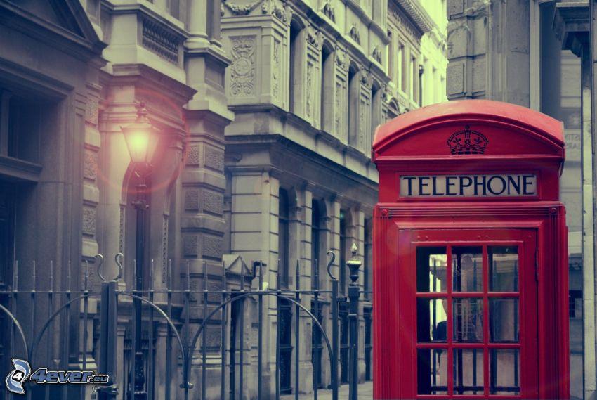telephone booth, street lights, Lamp
