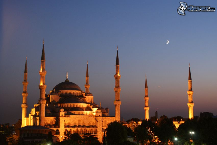 The Blue Mosque, moon, evening