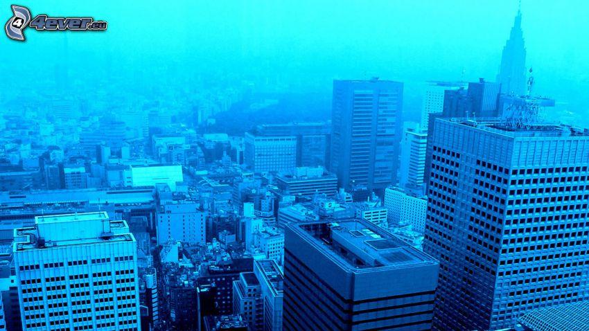Tokyo, blue background