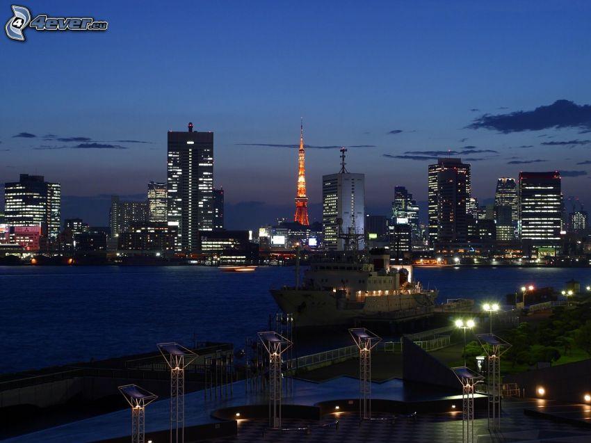Tokyo, evening city, skyscrapers, ship