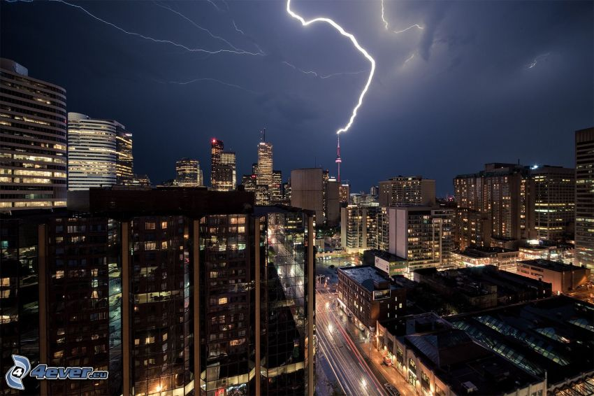 Toronto, night city, lightning