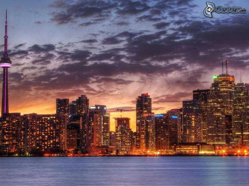 Toronto, skyscrapers, River, evening city