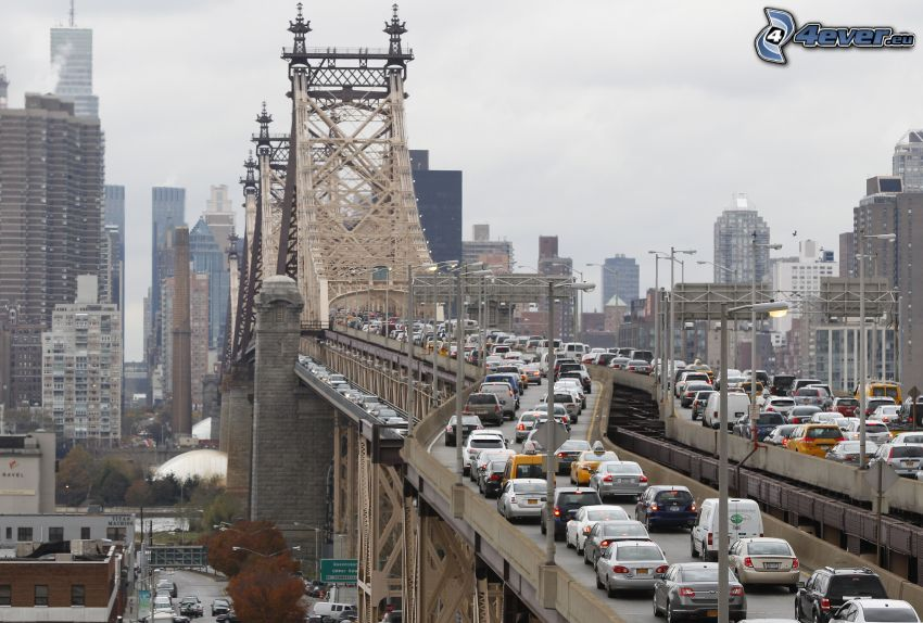 traffic jam, Queensboro bridge, New York