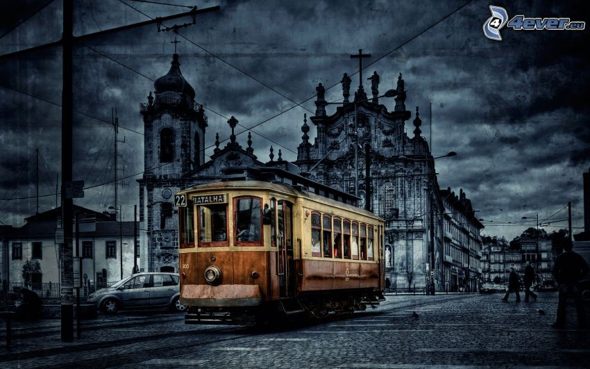 tram, city, HDR