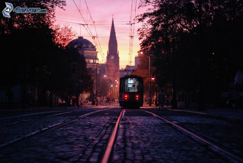 tram, evening city, church