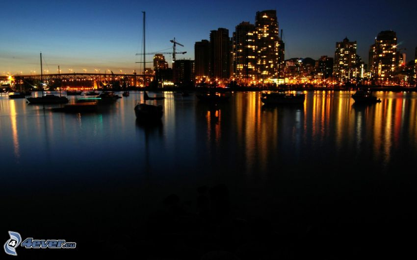 Vancouver, night city, seaside town