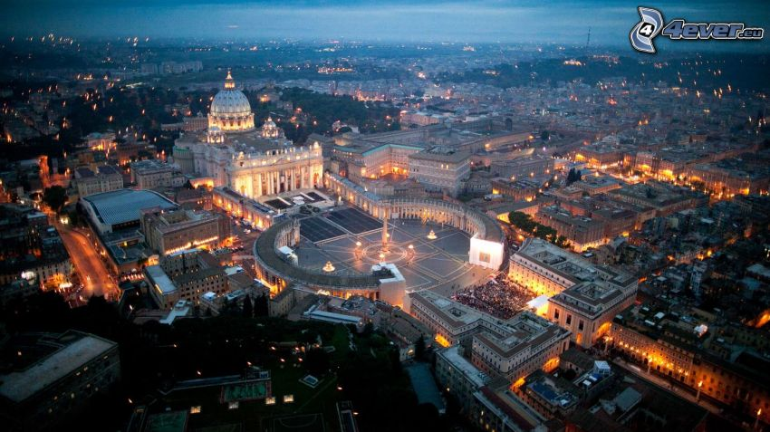Vatican City, St. Peter's Square, night city