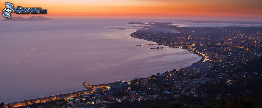 Vlora, seaside town, evening city