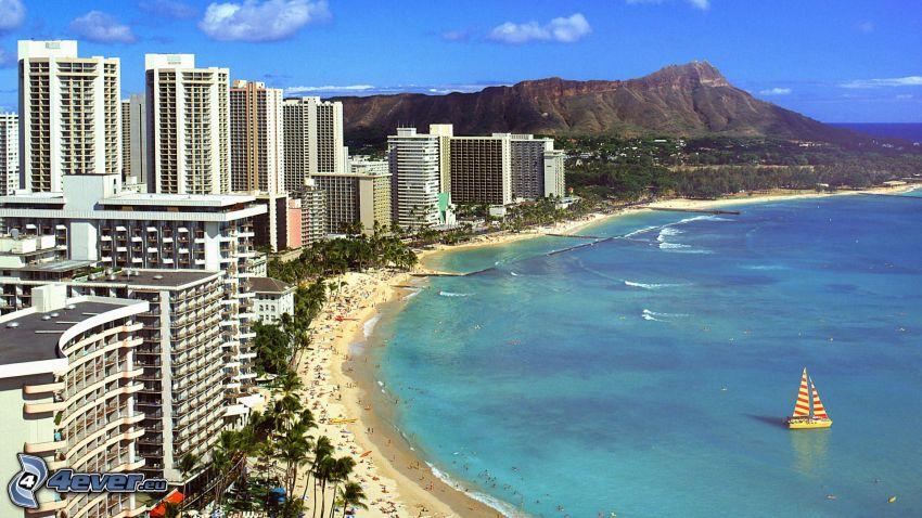 Waikiki, beach, seaside town