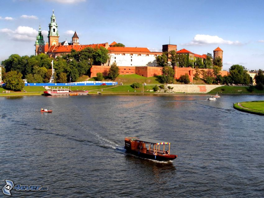 Wawel castle, Kraków, River, ships