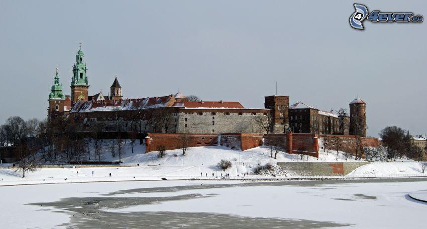 Wawel castle, Kraków, River, snow