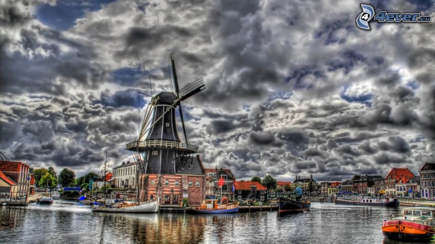 windmill, water canal, HDR