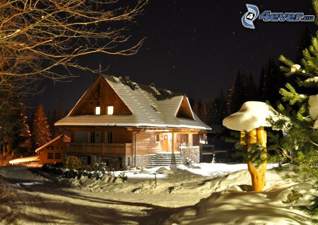 cottage, winter, snow, night
