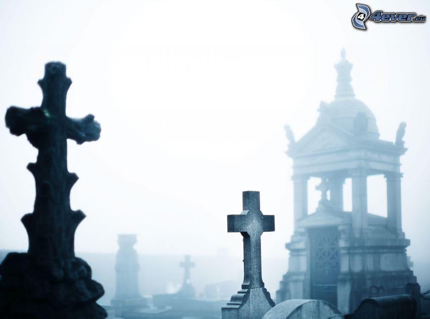 crosses, chapel, cemetery