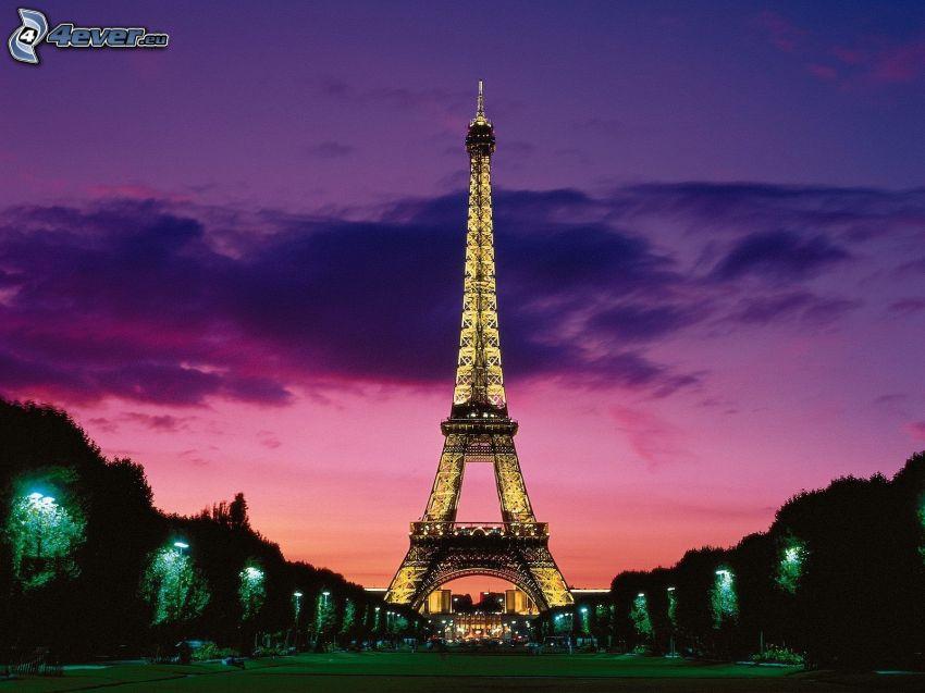 Eiffel Tower, evening sky