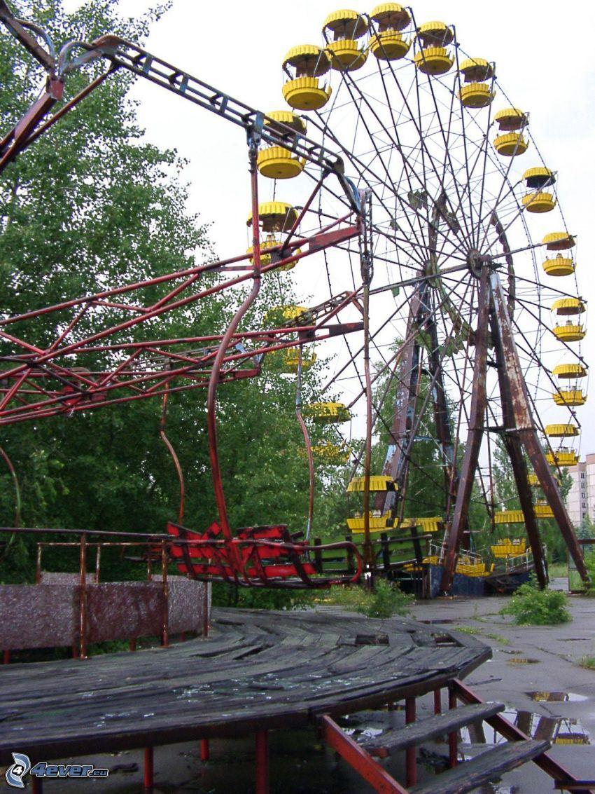 ferris wheel, carousel, Prypiat