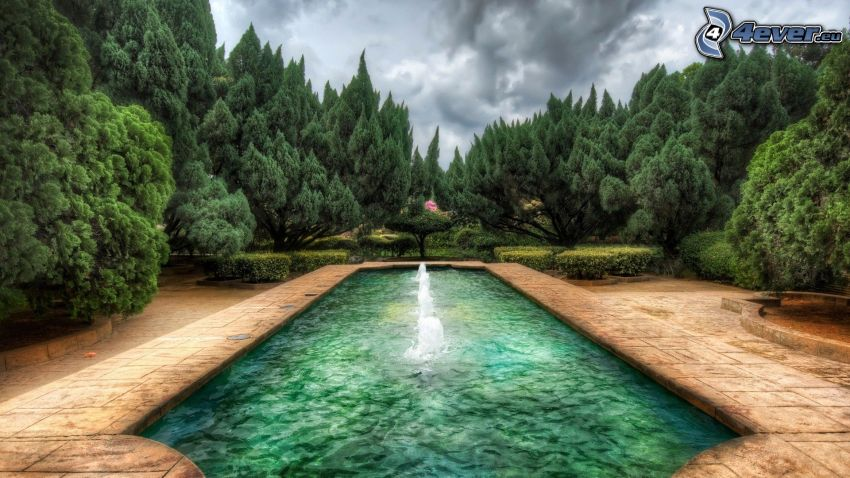 fountain, green water, forest, HDR