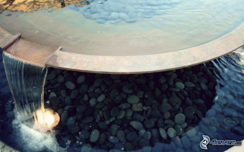 fountain, rocks