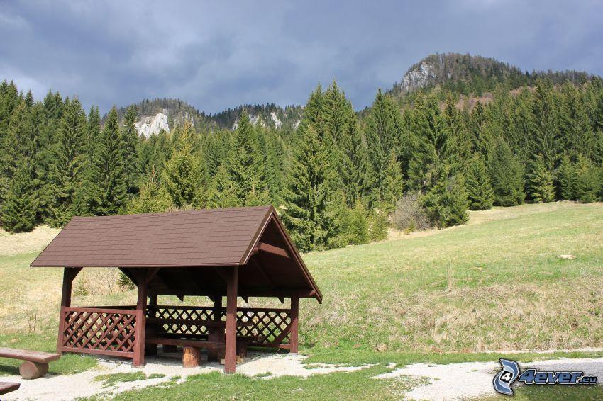 gazebo, Veľká stožka, coniferous forest, mountain